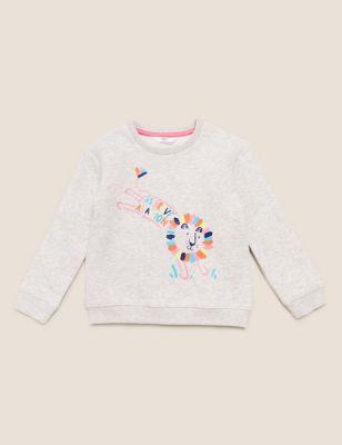 Organic Cotton Lion Print Sweatshirt (2-7 Yrs)