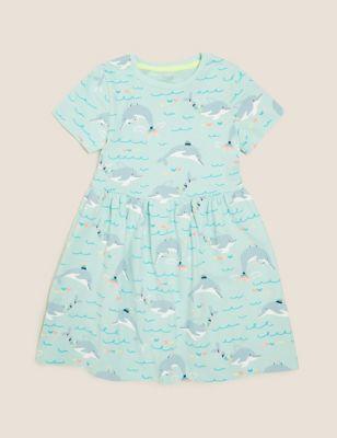 Pure Cotton Dolphin Print Dress (2-7 Yrs)