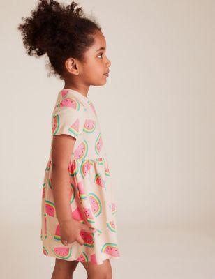 Pure Cotton Melon Print Dress (2-7 Yrs)