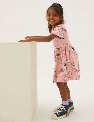 Pure Cotton Dinosaur Print Dress (2-7 Yrs)