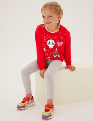 Cotton Christmas Print Sweatshirt (2-7 Yrs)