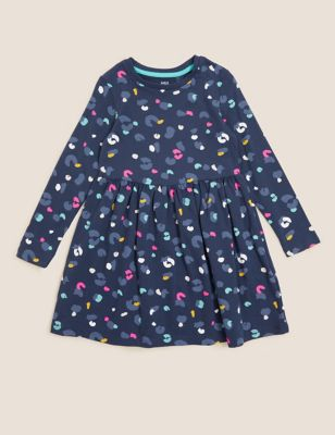 Pure Cotton Leopard Print Dress (2-7 Yrs)