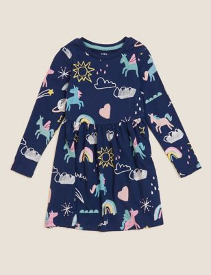 Pure Cotton Unicorn Print Dress (2-7 Yrs)