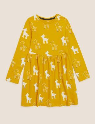 Pure Cotton Deer Print Dress (2-7 Yrs)