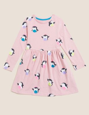 Pure Cotton Penguin Print Dress (2-7 Yrs)