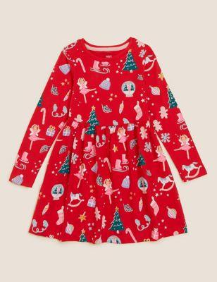 Pure Cotton Christmas Print Dress (2-7 Yrs)