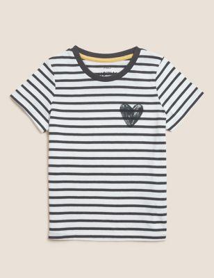Pure Cotton Heart Print T-Shirt