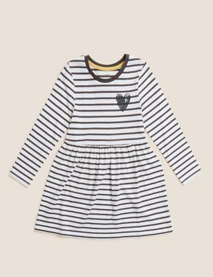 Pure Cotton Striped Dress (2-7 Yrs)