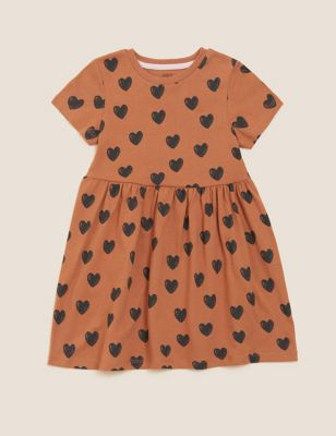 Pure Cotton Heart Dress (2-7 Yrs)