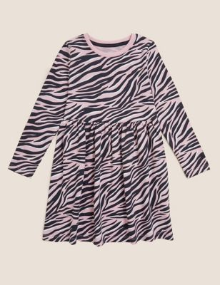 Pure Cotton Zebra Print Dress (2-7 Yrs)