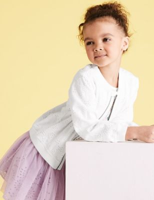 Pure Cotton Broderie Bomber (2-7 Yrs)