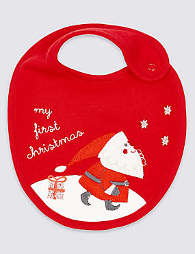 Pure Cotton My First Christmas Bib, RED, catlanding