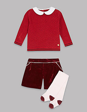 3 Piece Jumper & Shorts Outfit with Tights, RED MIX, catlanding