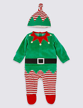 Unisex Elf All in One with Hat, GREEN, catlanding
