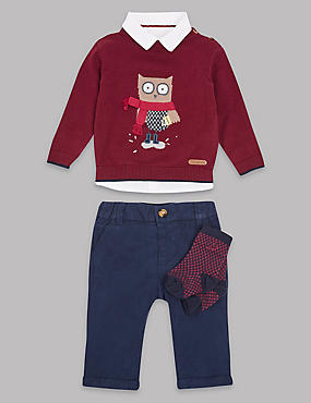 4 Piece Jumper, Shirt & Trousers with Socks, Red Mix, catlanding