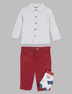 3 Piece Polo Shirt & Trousers with Socks Outfit, CHESTNUT, catlanding