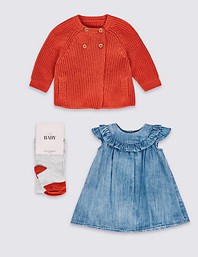 3 Piece Baby Dress & Cardigan with Tights, NAVY MIX, catlanding