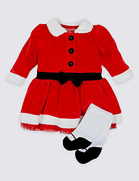 2 Piece Santa Dress with Tights, RED, catlanding