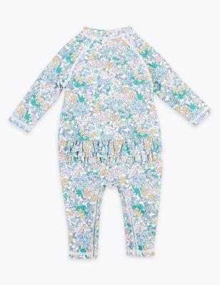 2 Piece Floral Swimsuit & Hat (0-3 Yrs)