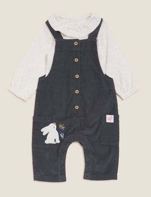 2pc Pure Cotton Cord Bunny Dungaree Outfit (0-3 Yrs)