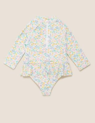 Floral Frill Waist Long Sleeve Swimsuit (0-3 Yrs)