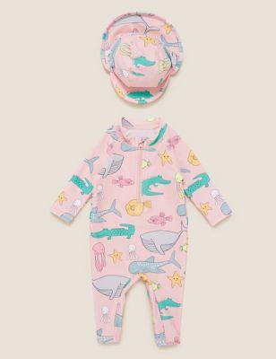2pc Sea Animal Print Sun Safe Swimsuit (0-3 Yrs)