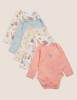 5pk Organic Cotton Printed Bodysuits ( 6½lbs - 3 Yrs)