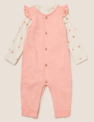 2pc Pure Cotton Bird Print Dungaree Outfit (7lbs- 12 Mths)
