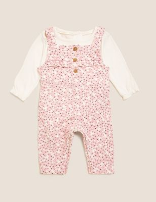 2pc Cotton Floral Dungaree Outfit (0-3 Yrs)