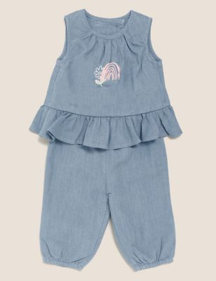 2pc Pure Cotton Frill Top & Bottom Outfit (0-3 Yrs)