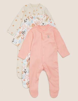 3pk Organic Cotton Printed Sleepsuits (0-3 Yrs)