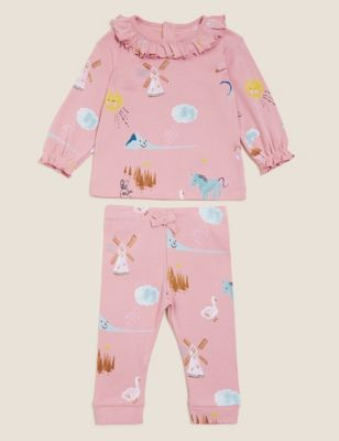 2pc Pure Cotton Nature Print Outfit (0-3 Yrs)