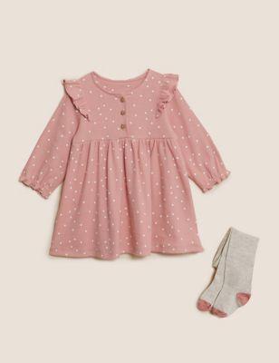 2pc Cotton Spotty Dress Outfit (0-3 Yrs)