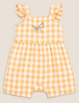 Cotton Gingham Playsuit  (0-3 Yrs)