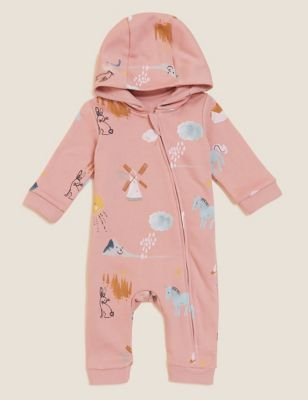 Cotton Hooded Print All In One (0-3 Yrs)