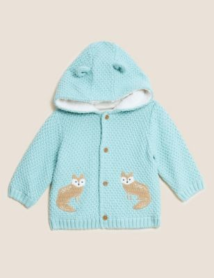 Cotton Fox Hooded Knitted Jacket