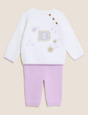 2pc Knitted Shooting Stars Outfit (0-3 Yrs)