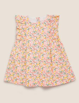 Pure Cotton Floral Dress (0-3 Yrs)