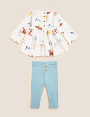 2pc Pure Cotton Printed Outfit (0-3 Yrs)