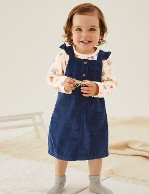 2pc Pure Cotton Cord Pinny Dress (0-3 Yrs)