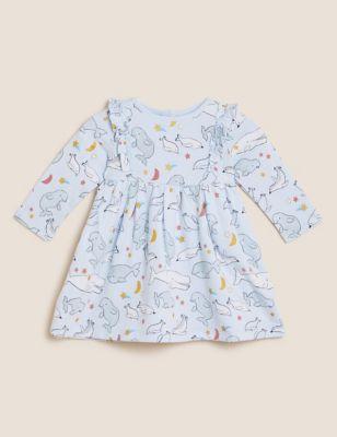 Cotton Whale Print Dress (0-3 Yrs)