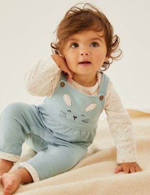 2pc Cotton Bunny Dungarees Outfit (0-3 Yrs)