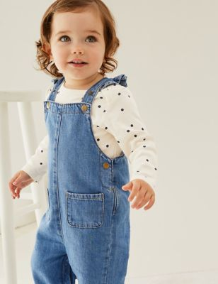 2pc Pure Cotton Denim Dungaree Outfit (0-3 Yrs)