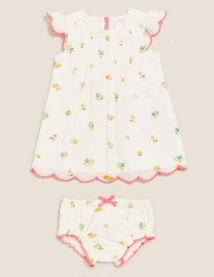 2pc Pure Cotton Floral Dress Outfit (0-3 Yrs)