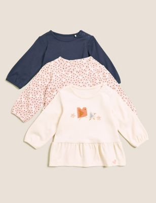 3pk Pure Cotton Printed Tops (0-3 Yrs)