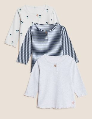 3pk Cotton Patterned Tops (0-3 Yrs)