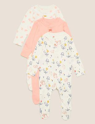 3pk Organic Cotton Print Sleepsuits (0-3 Yrs)