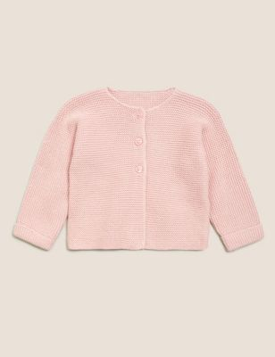 Pure Cotton Knitted Cardigan (7lbs-12 Mths)