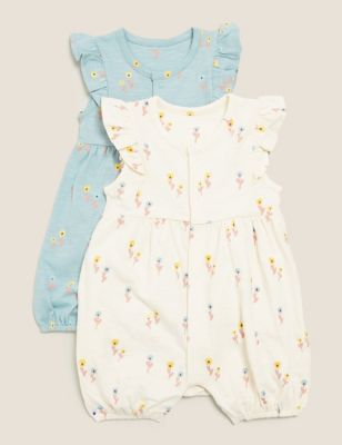 2pk Pure Cotton Floral Rompers (7lbs-12 Mths)