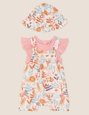 3pc Pure Cotton Lion Print Romper Outfit (7lbs- 12 Mths)